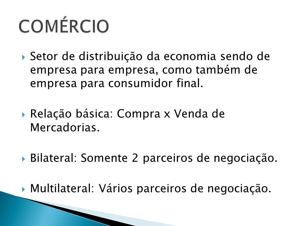 COMÉRCIO Setor de distribuição da economia sendo de empresa para empresa, como também de empresa para consumidor final.
