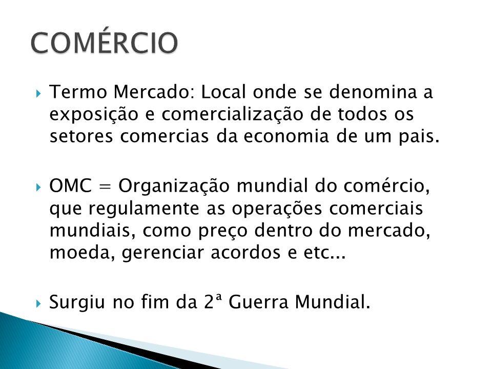 COMÉRCIO Termo Mercado: Local onde se denomina a exposição e comercialização de todos os setores comercias da economia de um pais.