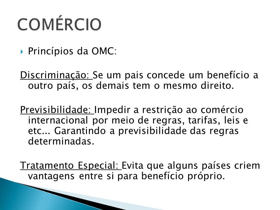 COMÉRCIO Princípios da OMC: