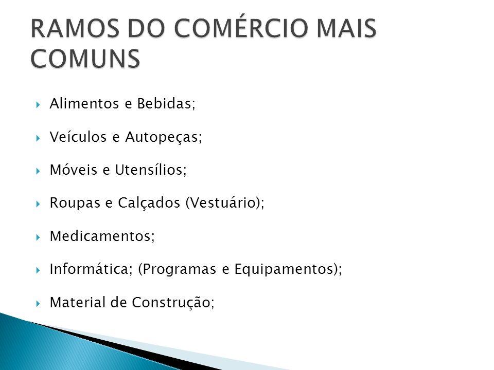 RAMOS DO COMÉRCIO MAIS COMUNS