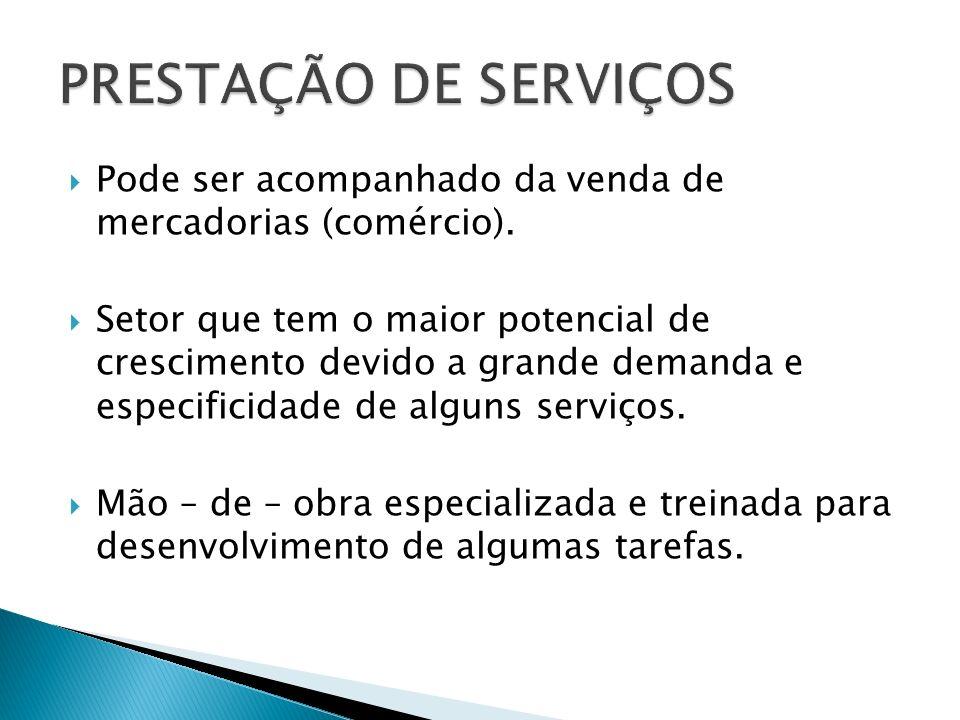 PRESTAÇÃO DE SERVIÇOS Pode ser acompanhado da venda de mercadorias (comércio).