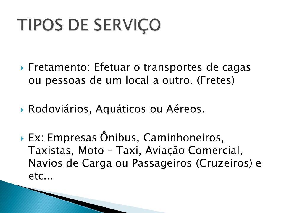 TIPOS DE SERVIÇO Fretamento: Efetuar o transportes de cagas ou pessoas de um local a outro. (Fretes)