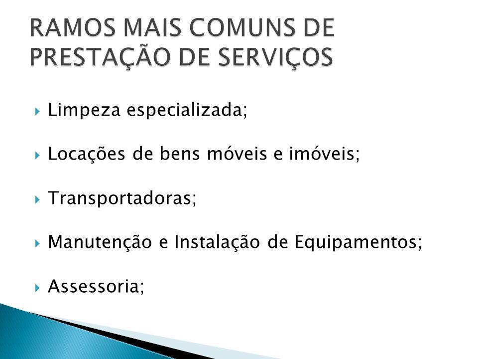RAMOS MAIS COMUNS DE PRESTAÇÃO DE SERVIÇOS