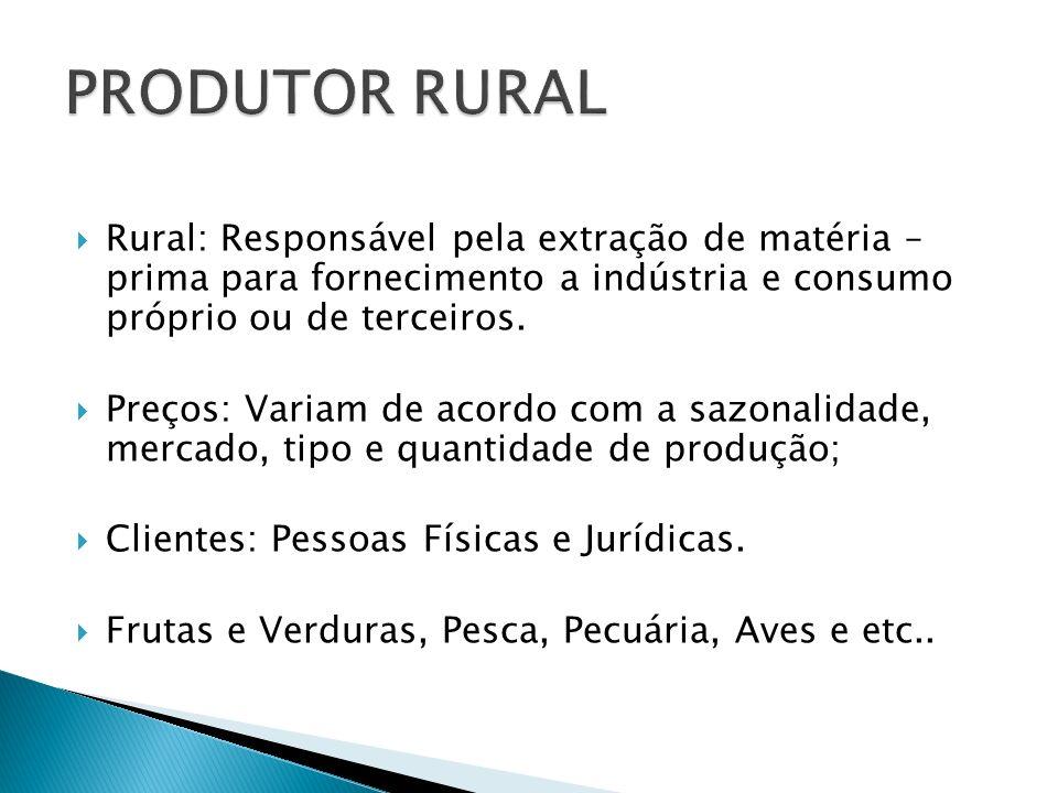 PRODUTOR RURAL Rural: Responsável pela extração de matéria – prima para fornecimento a indústria e consumo próprio ou de terceiros.