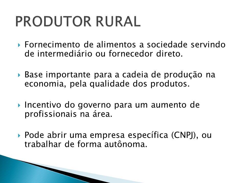 PRODUTOR RURAL Fornecimento de alimentos a sociedade servindo de intermediário ou fornecedor direto.