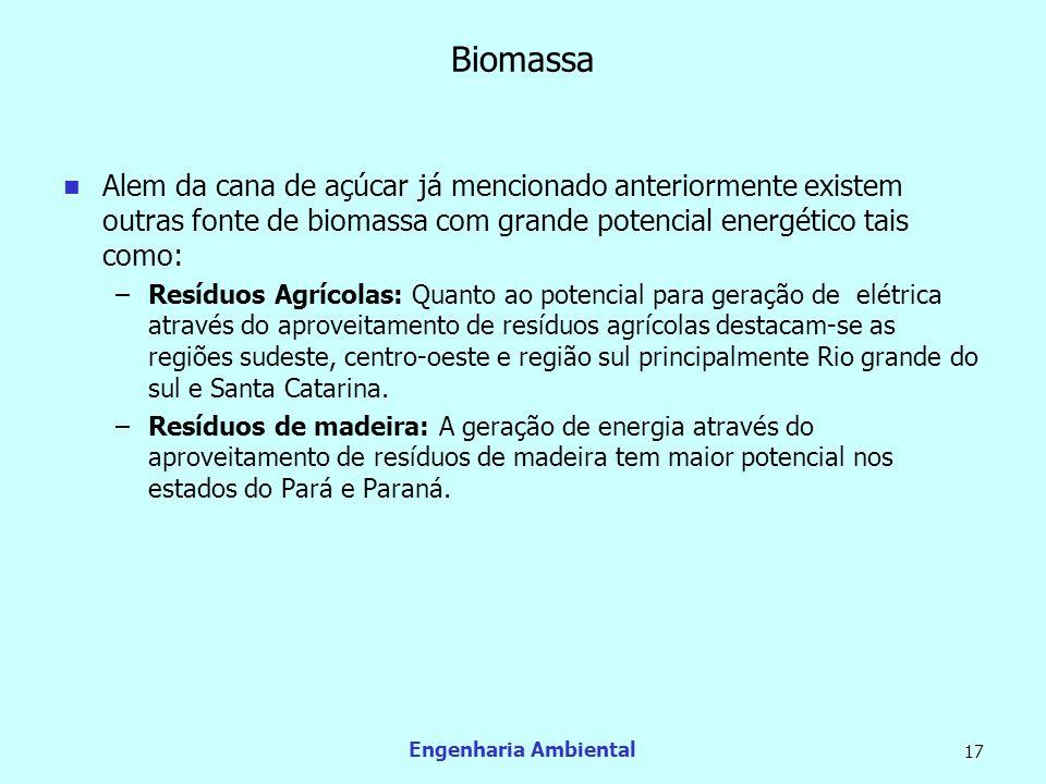 Biomassa Alem da cana de açúcar já mencionado anteriormente existem outras fonte de biomassa com grande potencial energético tais como: