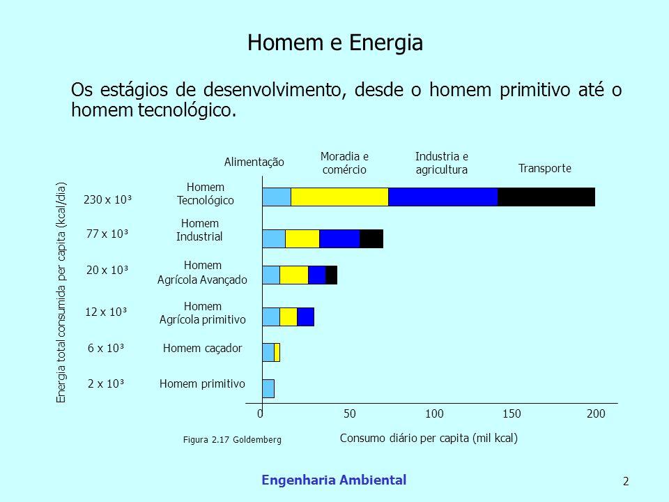 Homem e Energia Os estágios de desenvolvimento, desde o homem primitivo até o homem tecnológico. Moradia e comércio.