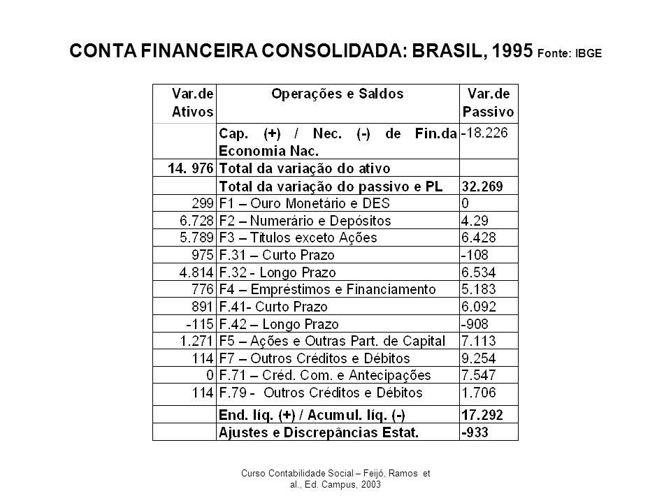 CONTA FINANCEIRA CONSOLIDADA: BRASIL, 1995 Fonte: IBGE