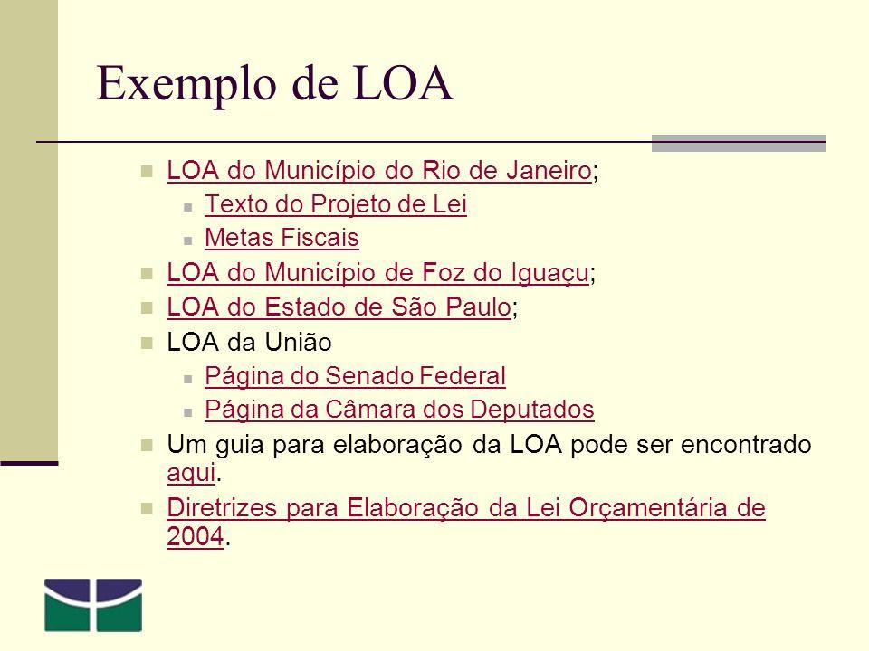 Exemplo de LOA LOA do Município do Rio de Janeiro;