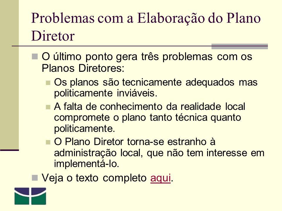 Problemas com a Elaboração do Plano Diretor