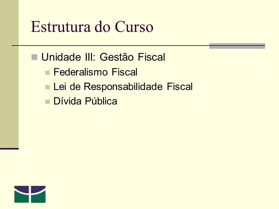 Estrutura do Curso Unidade III: Gestão Fiscal Federalismo Fiscal