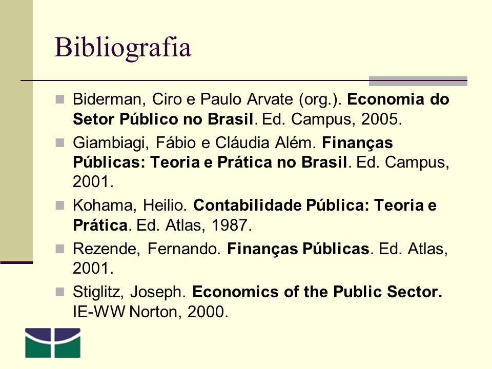 Bibliografia Biderman, Ciro e Paulo Arvate (org.). Economia do Setor Público no Brasil. Ed. Campus, 2005.