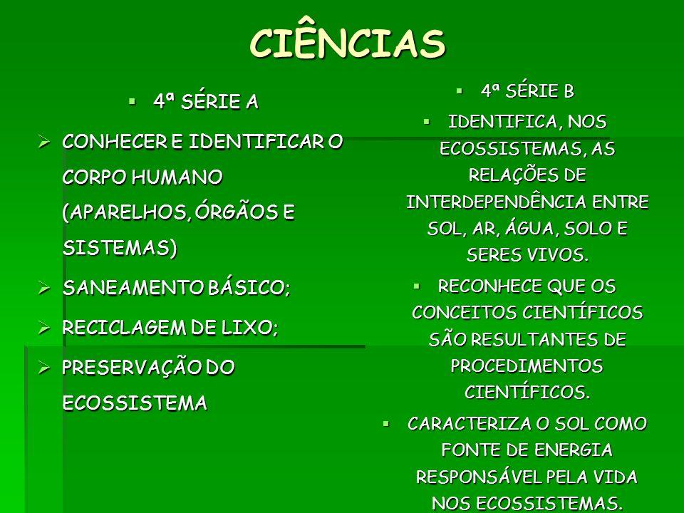 CIÊNCIAS 4ª SÉRIE B. IDENTIFICA, NOS ECOSSISTEMAS, AS RELAÇÕES DE INTERDEPENDÊNCIA ENTRE SOL, AR, ÁGUA, SOLO E SERES VIVOS.