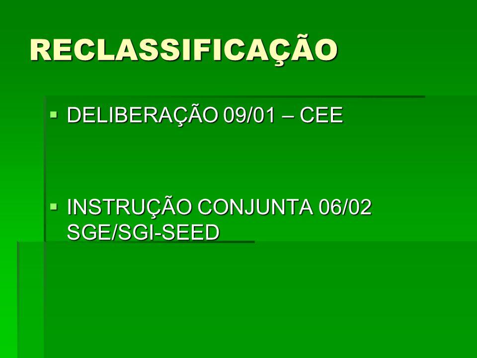 RECLASSIFICAÇÃO DELIBERAÇÃO 09/01 – CEE