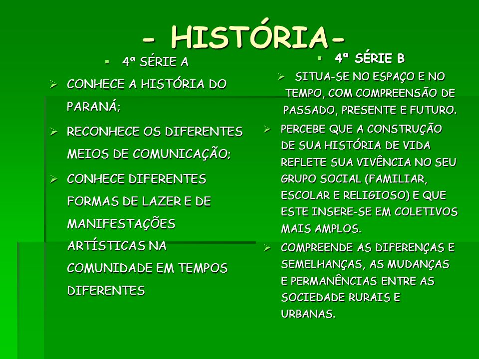 - HISTÓRIA- 4ª SÉRIE B 4ª SÉRIE A CONHECE A HISTÓRIA DO PARANÁ;