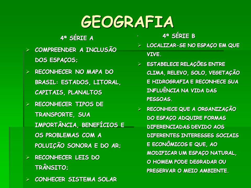 GEOGRAFIA 4ª SÉRIE A COMPREENDER A INCLUSÃO DOS ESPAÇOS;