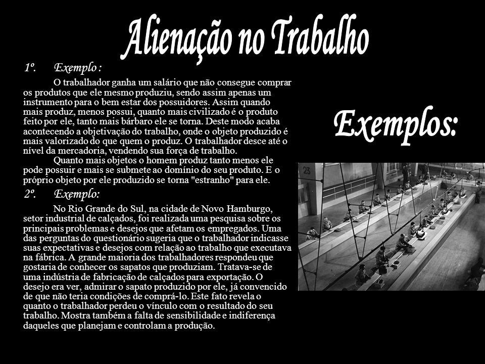 Alienação no Trabalho Exemplos: 2º. Exemplo: 1º. Exemplo :