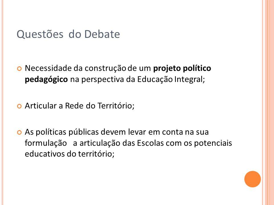 Questões do Debate Necessidade da construção de um projeto político pedagógico na perspectiva da Educação Integral;