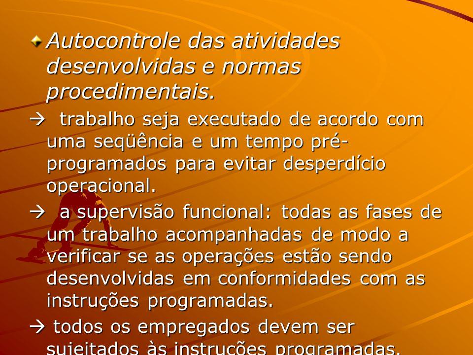 Autocontrole das atividades desenvolvidas e normas procedimentais.