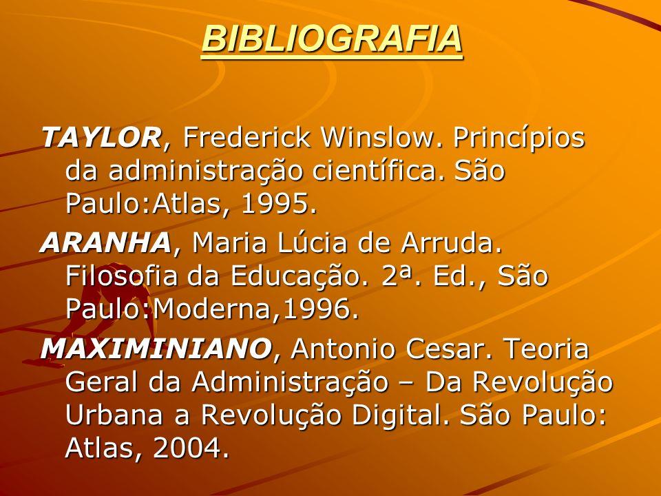 BIBLIOGRAFIA TAYLOR, Frederick Winslow. Princípios da administração científica. São Paulo:Atlas, 1995.
