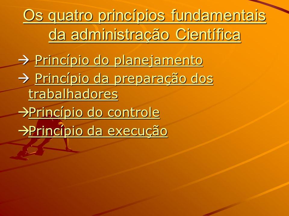 Os quatro princípios fundamentais da administração Científica