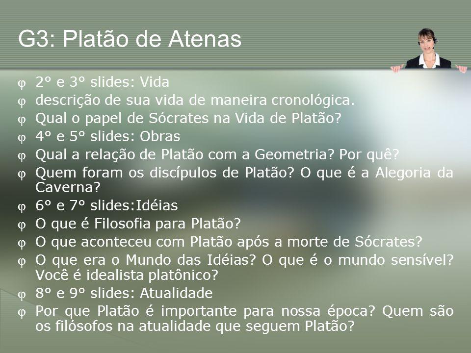 G3: Platão de Atenas 2° e 3° slides: Vida