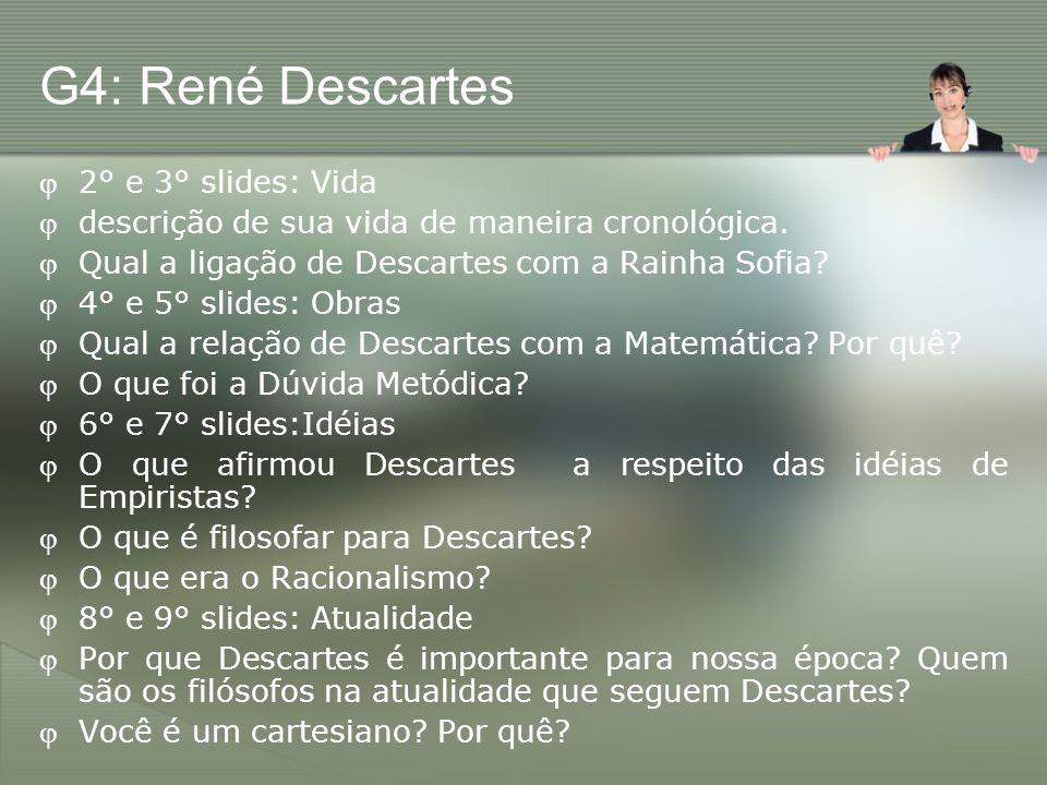 G4: René Descartes 2° e 3° slides: Vida
