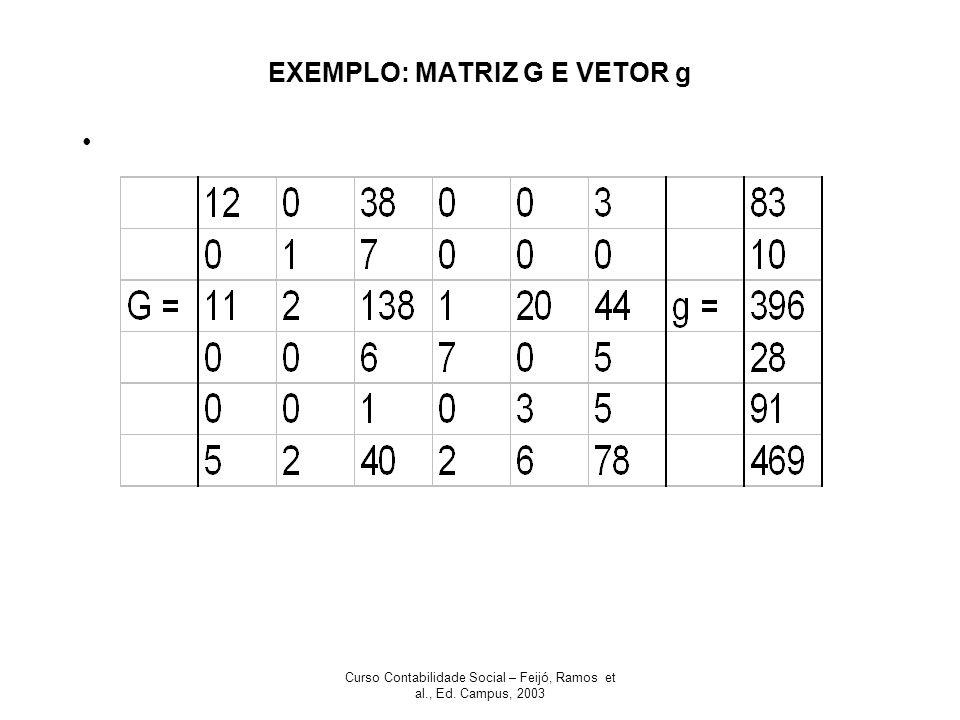 EXEMPLO: MATRIZ G E VETOR g