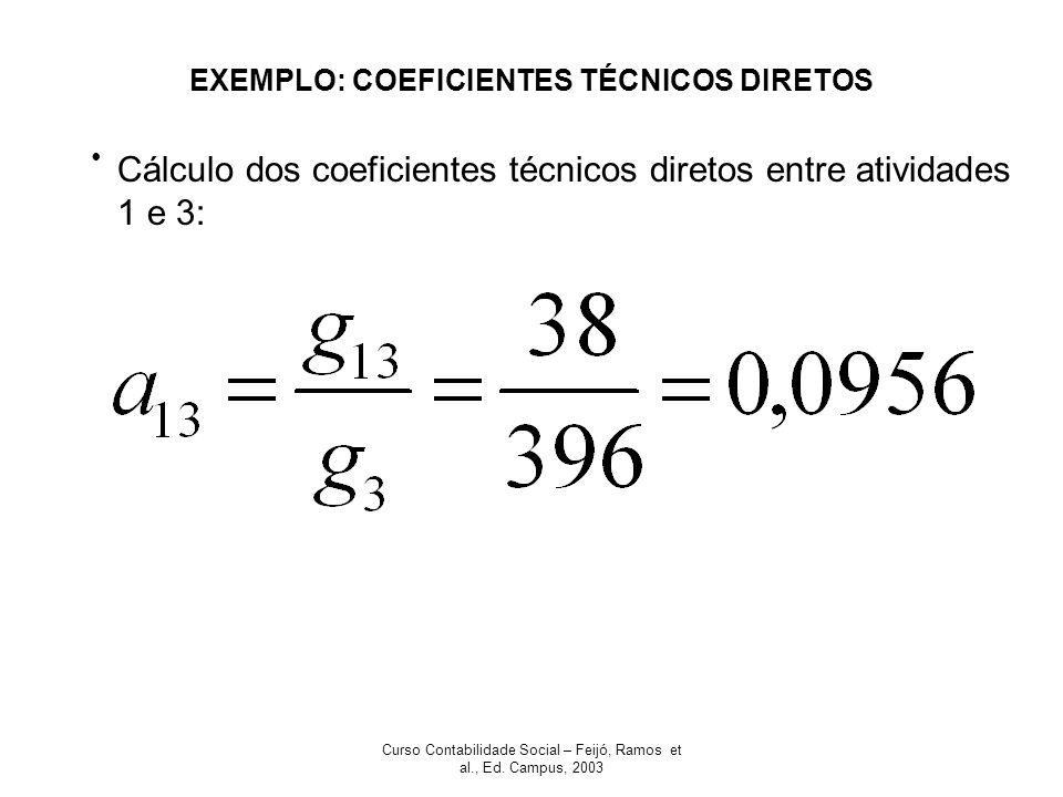 EXEMPLO: COEFICIENTES TÉCNICOS DIRETOS