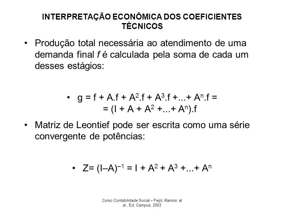 INTERPRETAÇÃO ECONÔMICA DOS COEFICIENTES TÉCNICOS