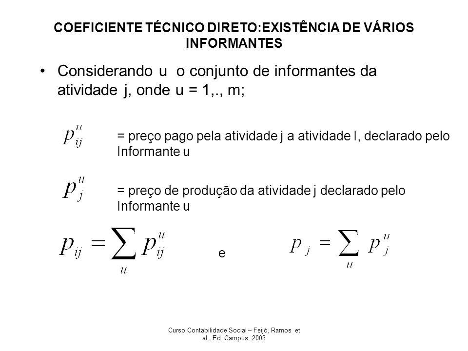 COEFICIENTE TÉCNICO DIRETO:EXISTÊNCIA DE VÁRIOS INFORMANTES
