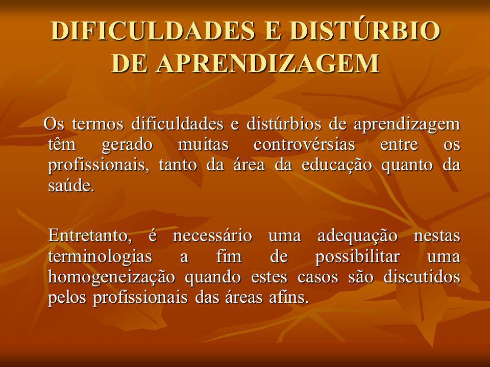 DIFICULDADES E DISTÚRBIO DE APRENDIZAGEM