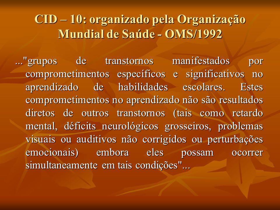 CID – 10: organizado pela Organização Mundial de Saúde - OMS/1992