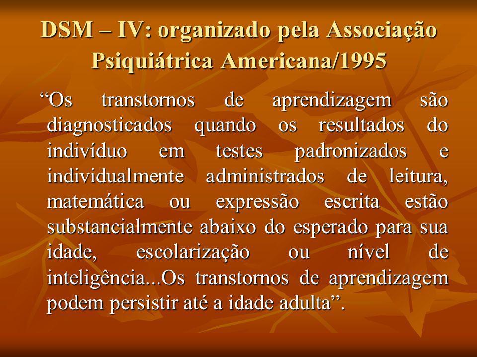 DSM – IV: organizado pela Associação Psiquiátrica Americana/1995