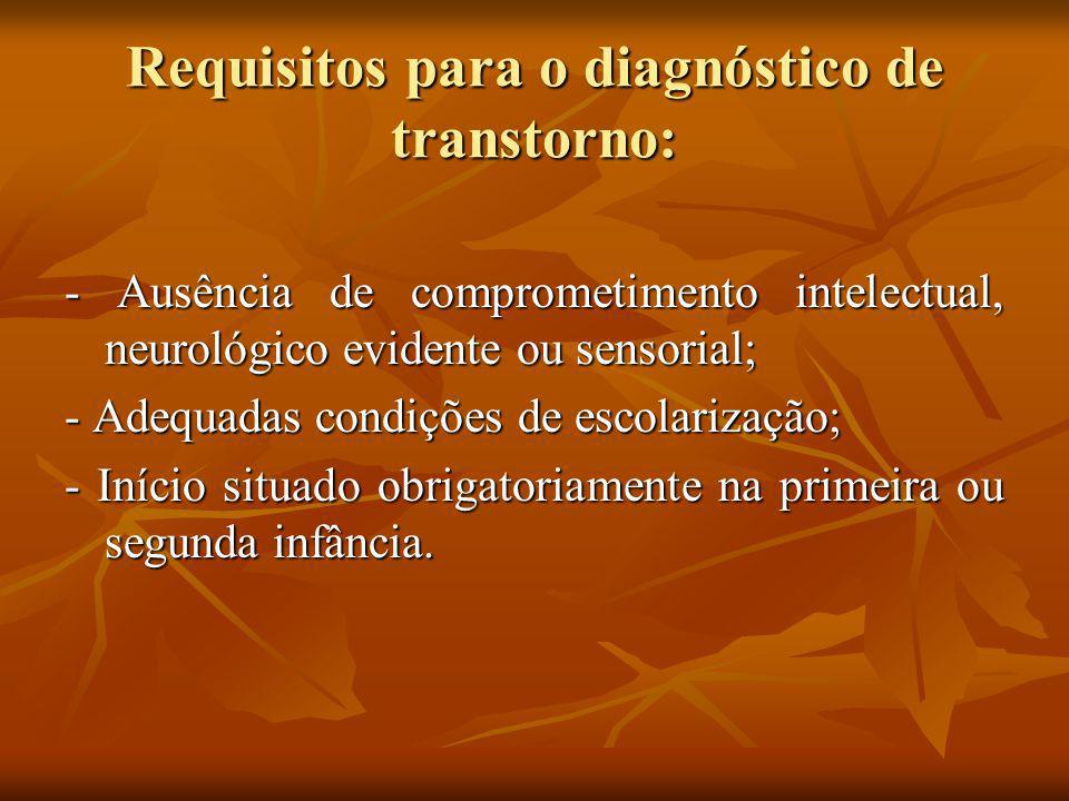 Requisitos para o diagnóstico de transtorno: