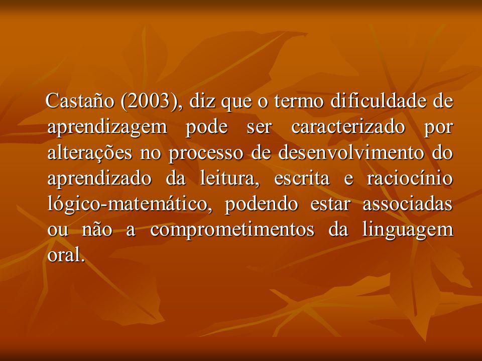 Castaño (2003), diz que o termo dificuldade de aprendizagem pode ser caracterizado por alterações no processo de desenvolvimento do aprendizado da leitura, escrita e raciocínio lógico-matemático, podendo estar associadas ou não a comprometimentos da linguagem oral.