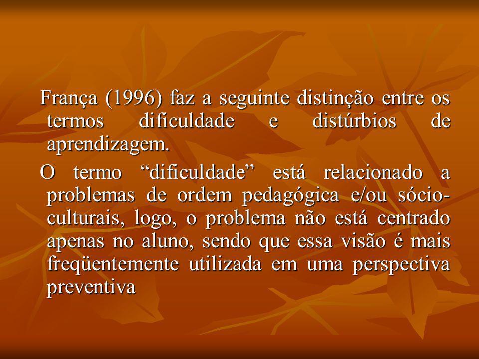 França (1996) faz a seguinte distinção entre os termos dificuldade e distúrbios de aprendizagem.