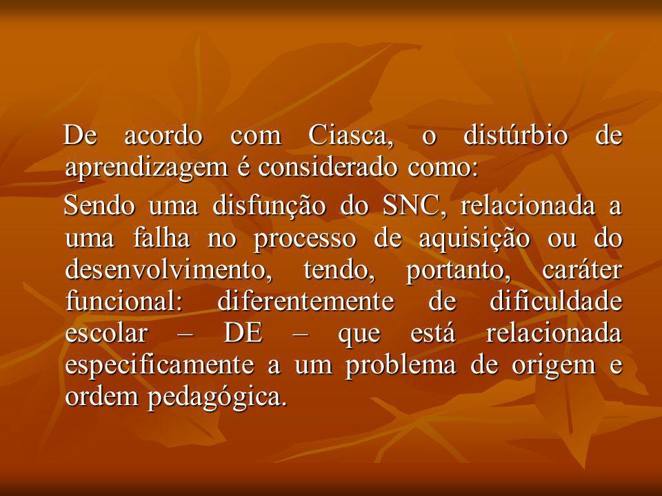 De acordo com Ciasca, o distúrbio de aprendizagem é considerado como: