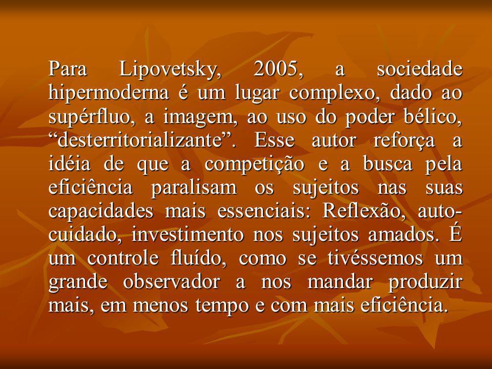 Para Lipovetsky, 2005, a sociedade hipermoderna é um lugar complexo, dado ao supérfluo, a imagem, ao uso do poder bélico, desterritorializante .