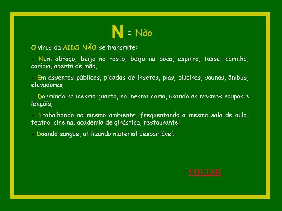 N = Não VOLTAR O vírus da AIDS NÃO se transmite: