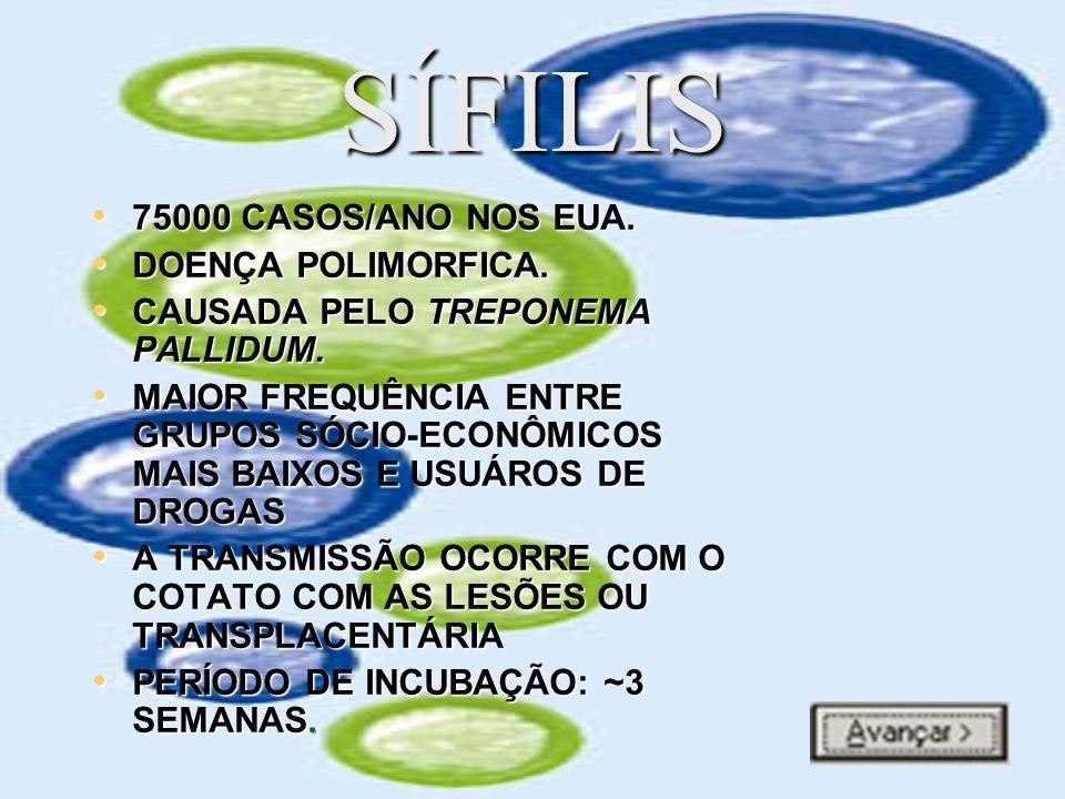 SÍFILIS 75000 CASOS/ANO NOS EUA. DOENÇA POLIMORFICA.