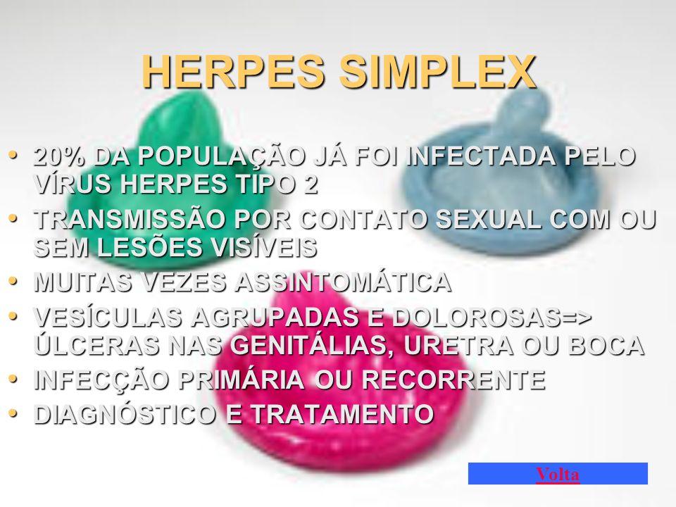 HERPES SIMPLEX 20% DA POPULAÇÃO JÁ FOI INFECTADA PELO VÍRUS HERPES TIPO 2. TRANSMISSÃO POR CONTATO SEXUAL COM OU SEM LESÕES VISÍVEIS.