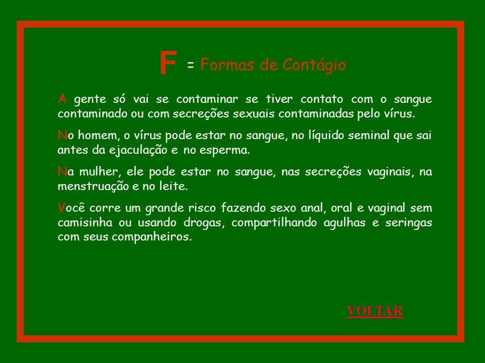 F = Formas de Contágio VOLTAR