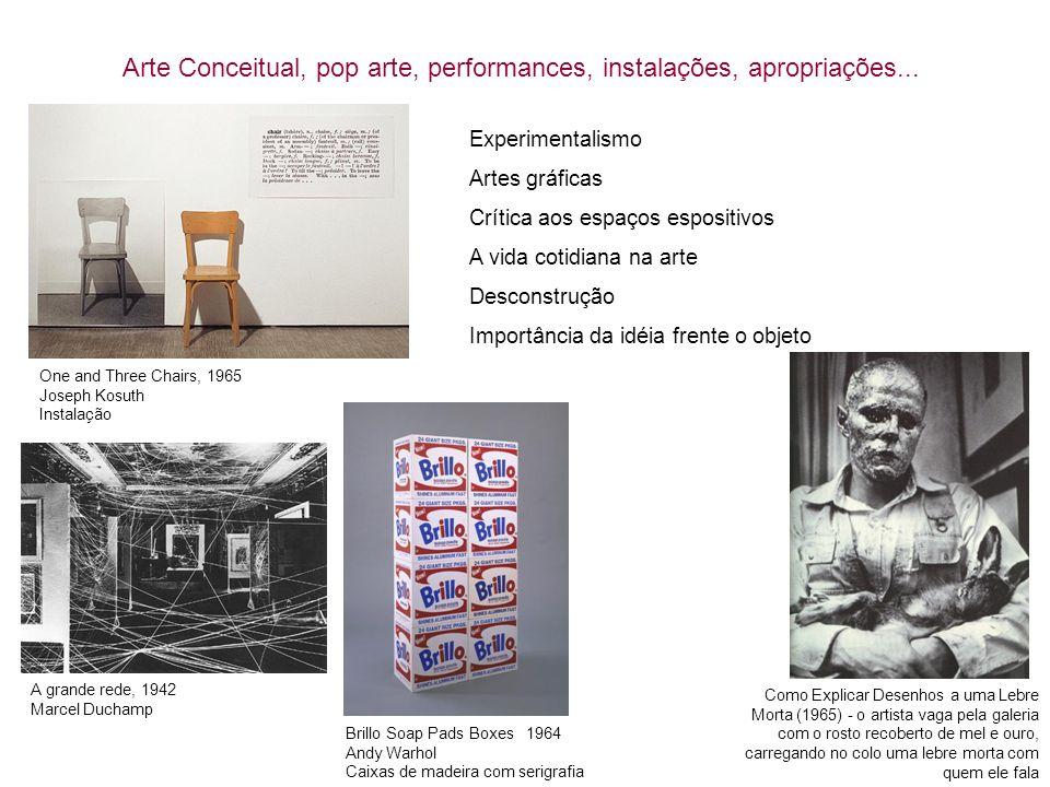 Arte Conceitual, pop arte, performances, instalações, apropriações...
