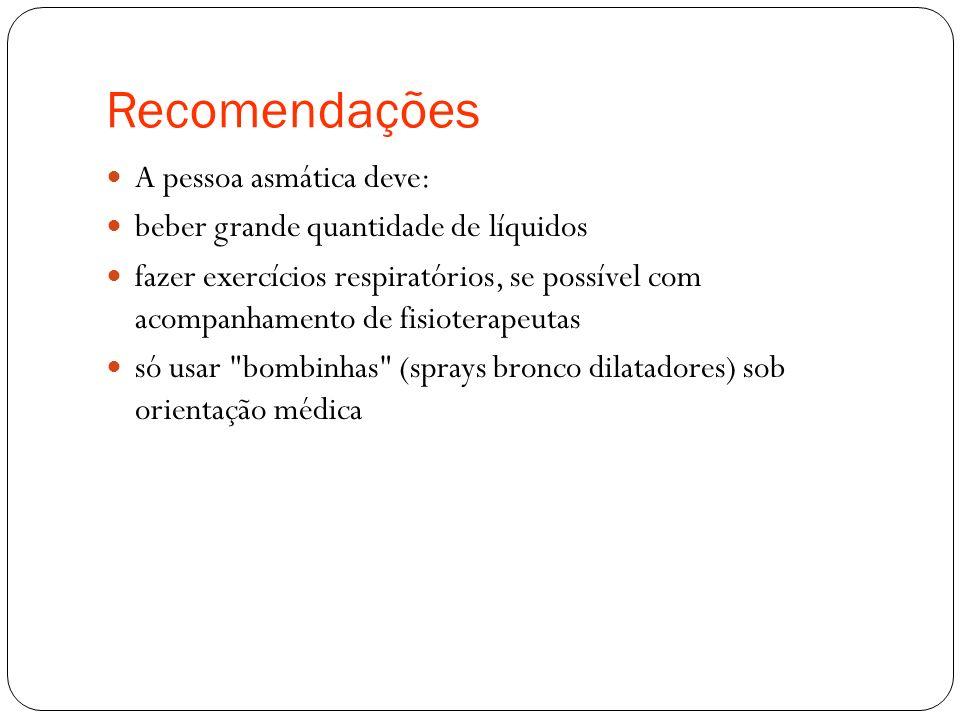 Recomendações A pessoa asmática deve:
