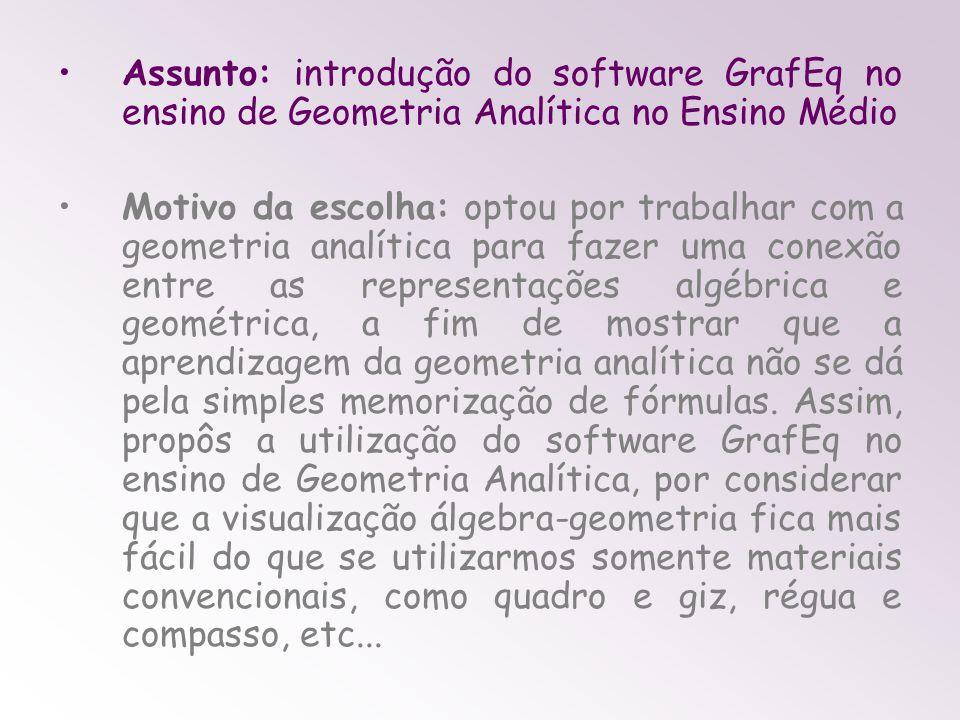 Assunto: introdução do software GrafEq no ensino de Geometria Analítica no Ensino Médio