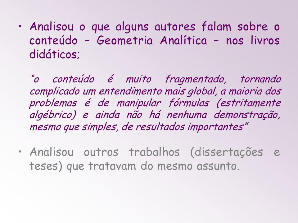 Analisou o que alguns autores falam sobre o conteúdo – Geometria Analítica – nos livros didáticos;