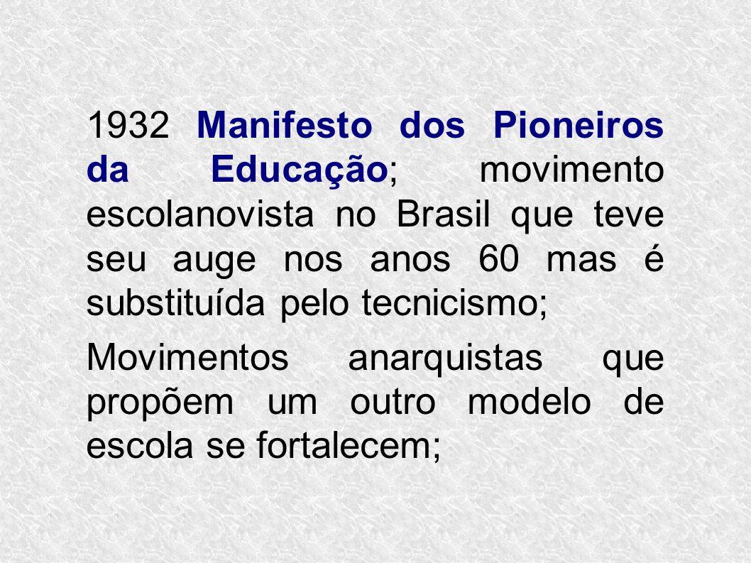 1932 Manifesto dos Pioneiros da Educação; movimento escolanovista no Brasil que teve seu auge nos anos 60 mas é substituída pelo tecnicismo;