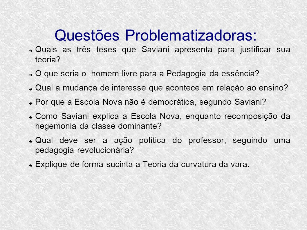 Questões Problematizadoras: