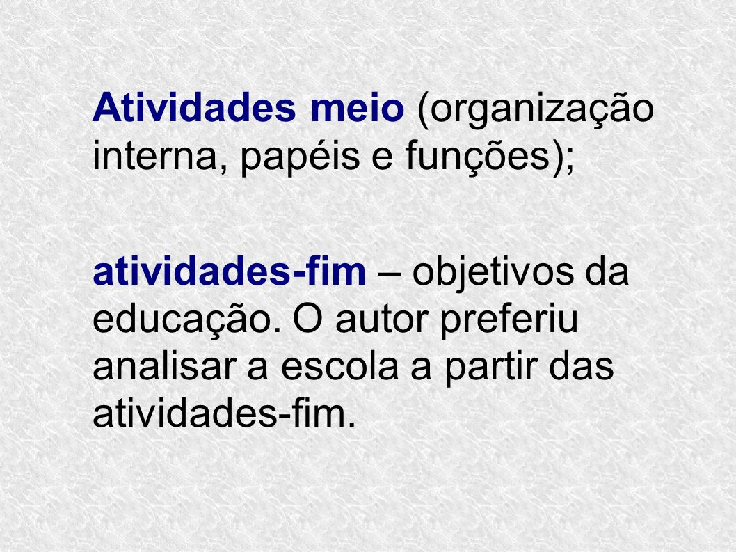 Atividades meio (organização interna, papéis e funções);